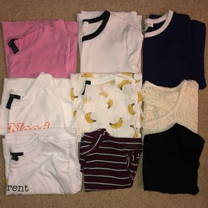 Lot of 9 Forever 21 Tees Shirts Sz. XS and S